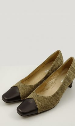 Allino Gold And Brown Heels  8.5