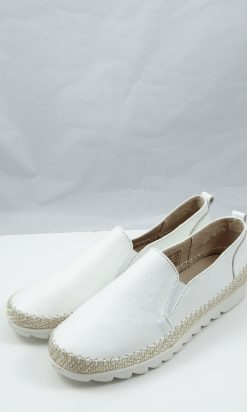 Just Bee White Leather Loafer 40