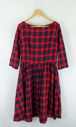 Lindy Bop Red And Navy Dress L